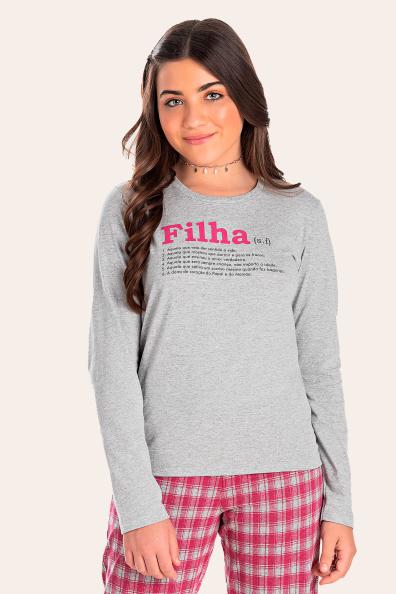 200/H - Pijama Juvenil Feminino Xadrez Família Completa