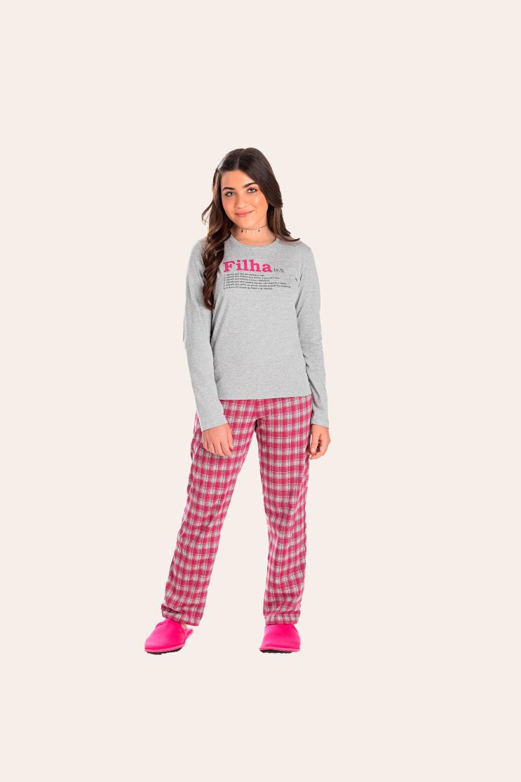 123/A - Pijama Juvenil Feminino Xadrez Família Completa