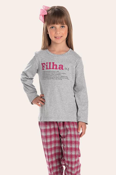 200/I - Pijama Infantil Feminino Xadrez Família Completa