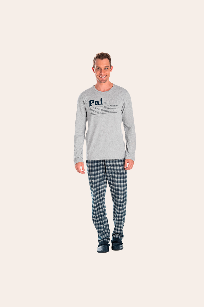 123/B - Pijama Adulto Masculino Xadrez Família Completa