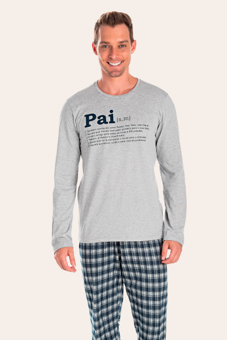 200/J - Pijama Adulto Masculino Xadrez Família Completa
