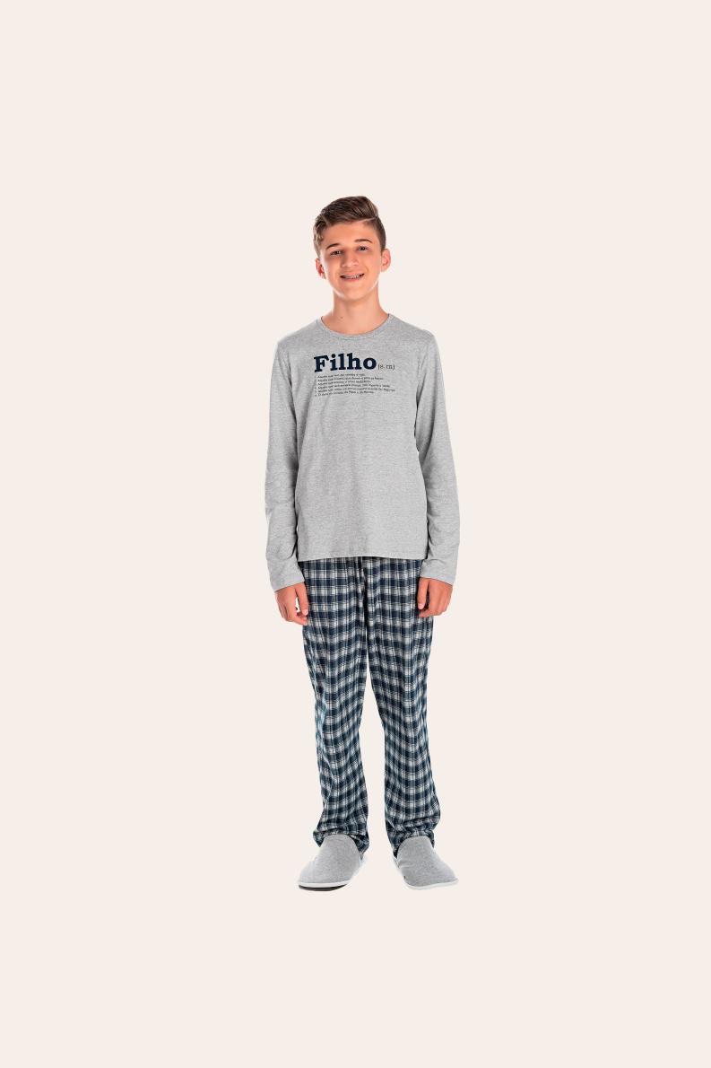 200/K - Pijama Juvenil Masculino Xadrez Família Completa