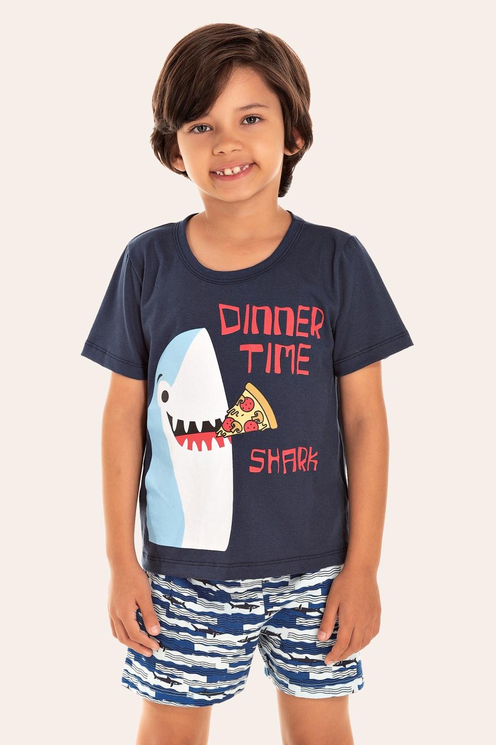 211/M - Pijama Infantil Masculino Dinner Time Shark