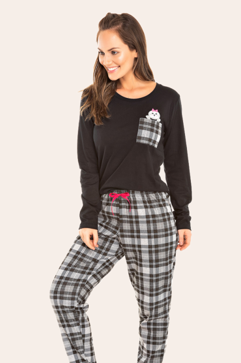 214/A -  Pijama  Adulto Feminino Xadrez