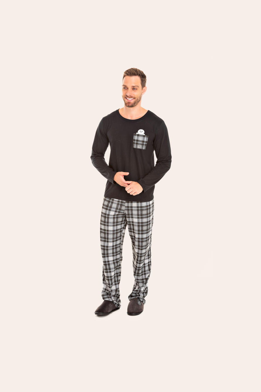 214/C - Pijama Adulto Masculino Xadrez