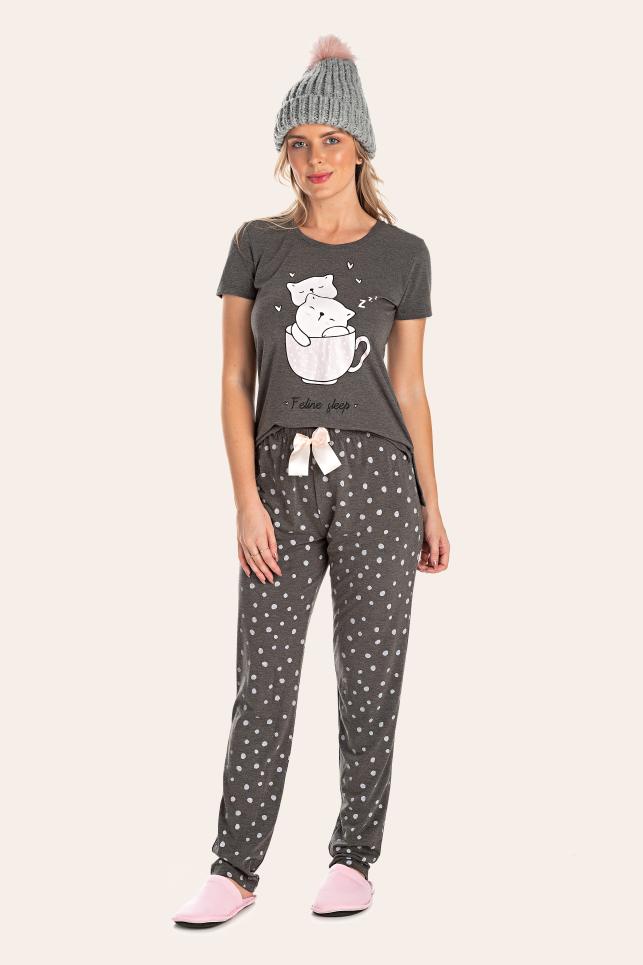 215/A - Pijama Adulto Feminino Feline Sleep zZzZ
