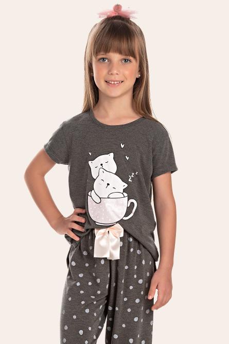 215/C - Pijama Infantil Feminino Feline Sleep zZzZ