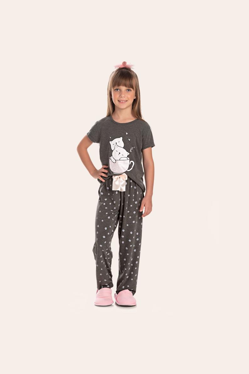 142/J - Pijama Infantil Feminino Feline Sleep zZzZ