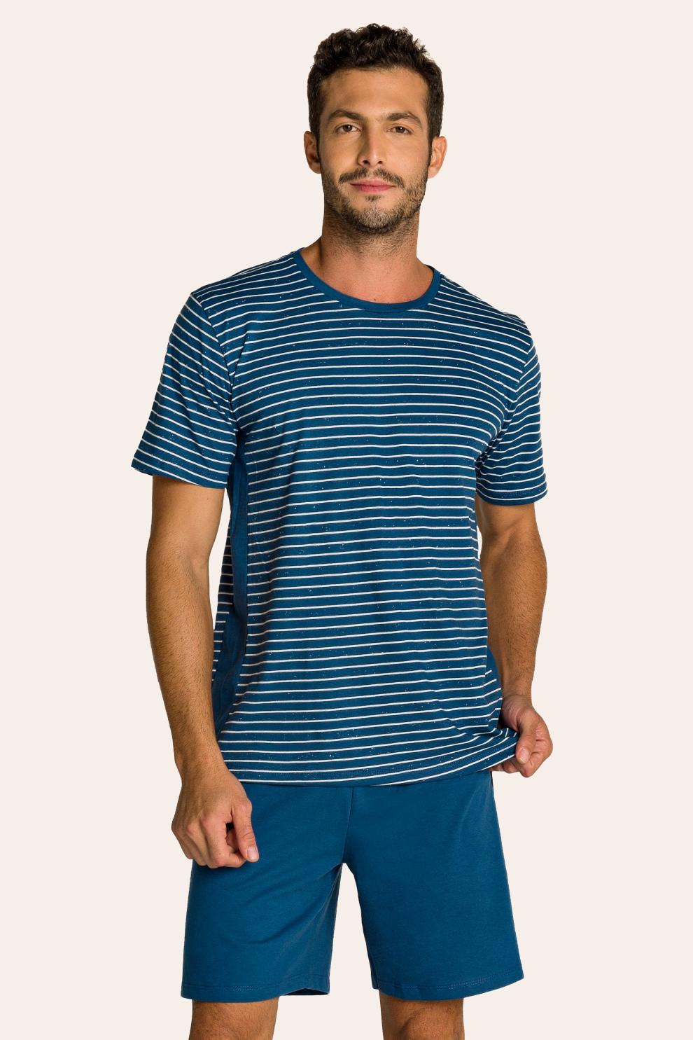 216/E - Pijama Adulto Masculino Listrado com Recorte Lateral