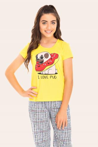 217/A - Pijama Juvenil Feminino I Love Pug