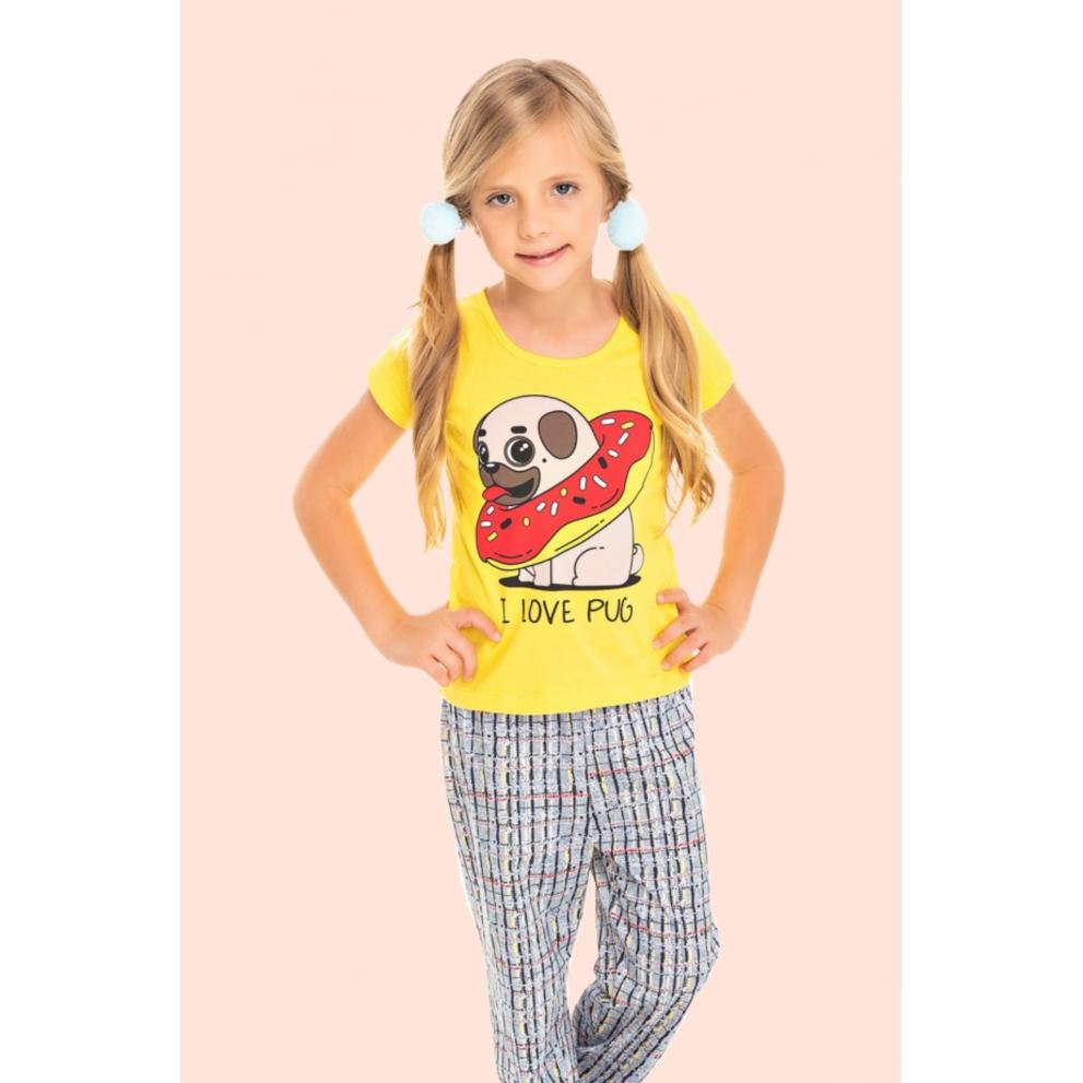 217/B - Pijama Infantil Feminino I Love Pug