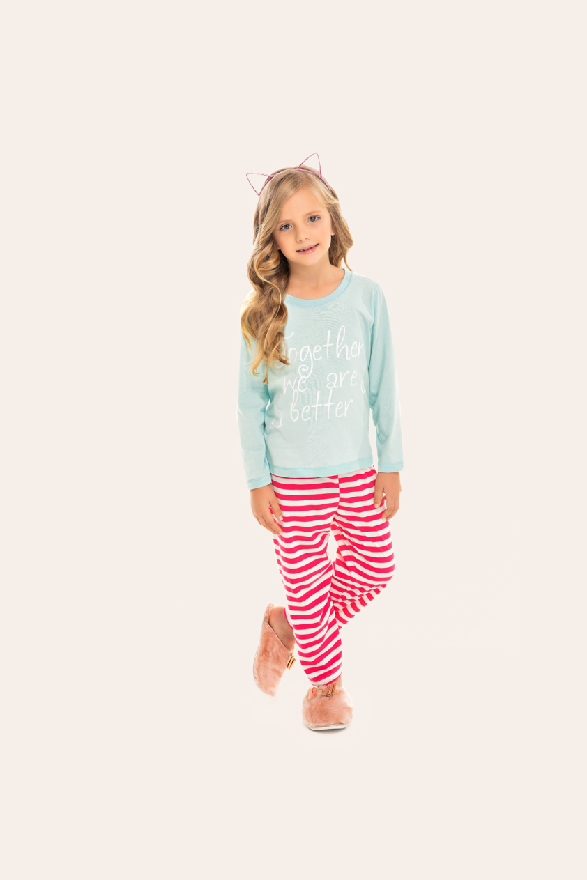 219/C - Pijama Infantil Feminino Together We Are Better