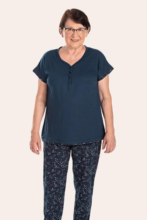 212/B - Pijama Curto Adulto Feminino Com Botões