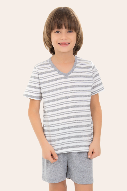 254/E - Pijama  Infantil Masculino Listras Mescla