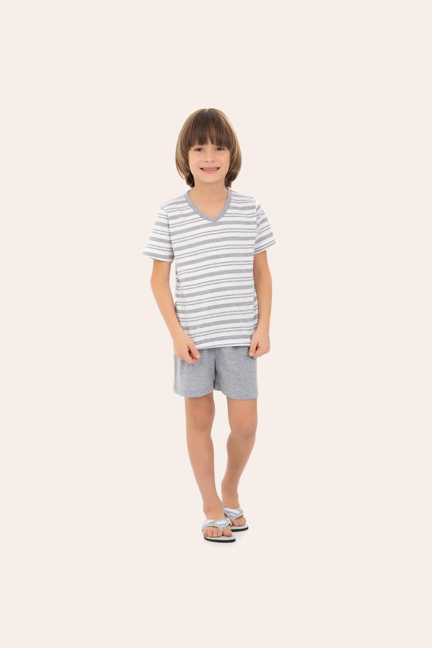 211/M - Pijama  Infantil Masculino Listras Mescla