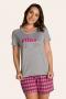 122/A - Pijama Adulto Feminino Xadrez Família Completa Estampa Filha