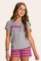 002/C -  Pijama Juvenil Feminino Xadrez Família Completa