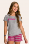 122/B -  Pijama Juvenil Feminino Xadrez Família Completa