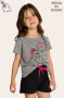 004/C - Pijama Infantil Feminino Família Skeleton - Brilha no Escuro