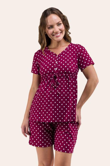 114/C - Pijama Com Bata  Maternidade Poá Bordô