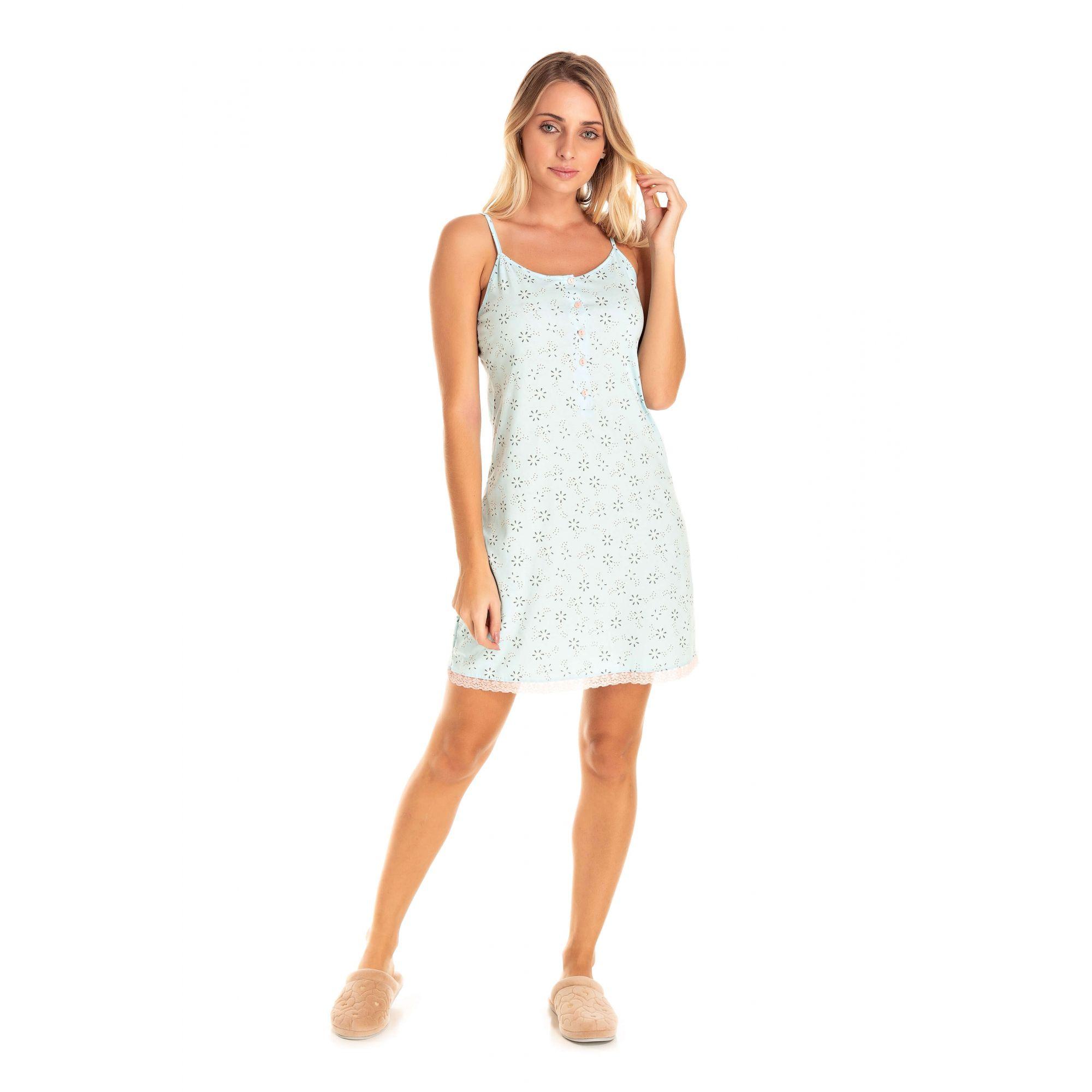 Camisola Adulto Feminino Alcinha - Azul