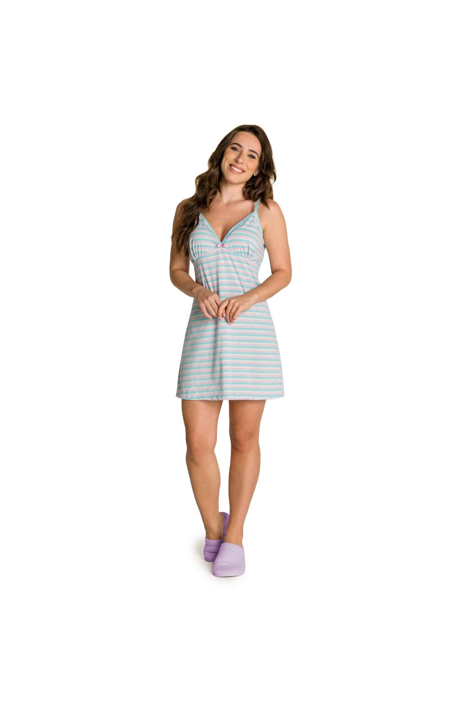019/D - Camisola Adulto Feminino Listrada com Laço