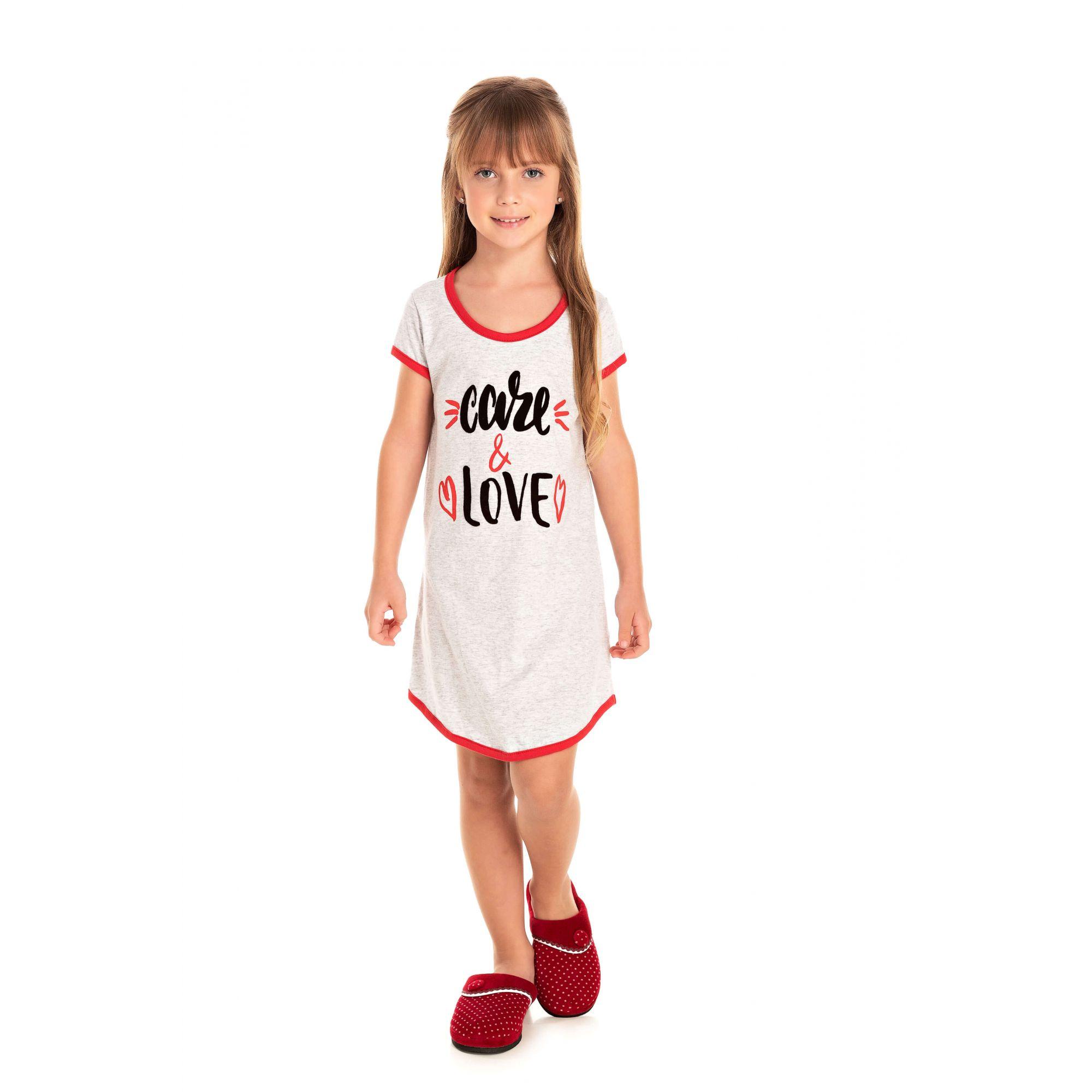 029 - Camisola Infantil Feminino Care & Love