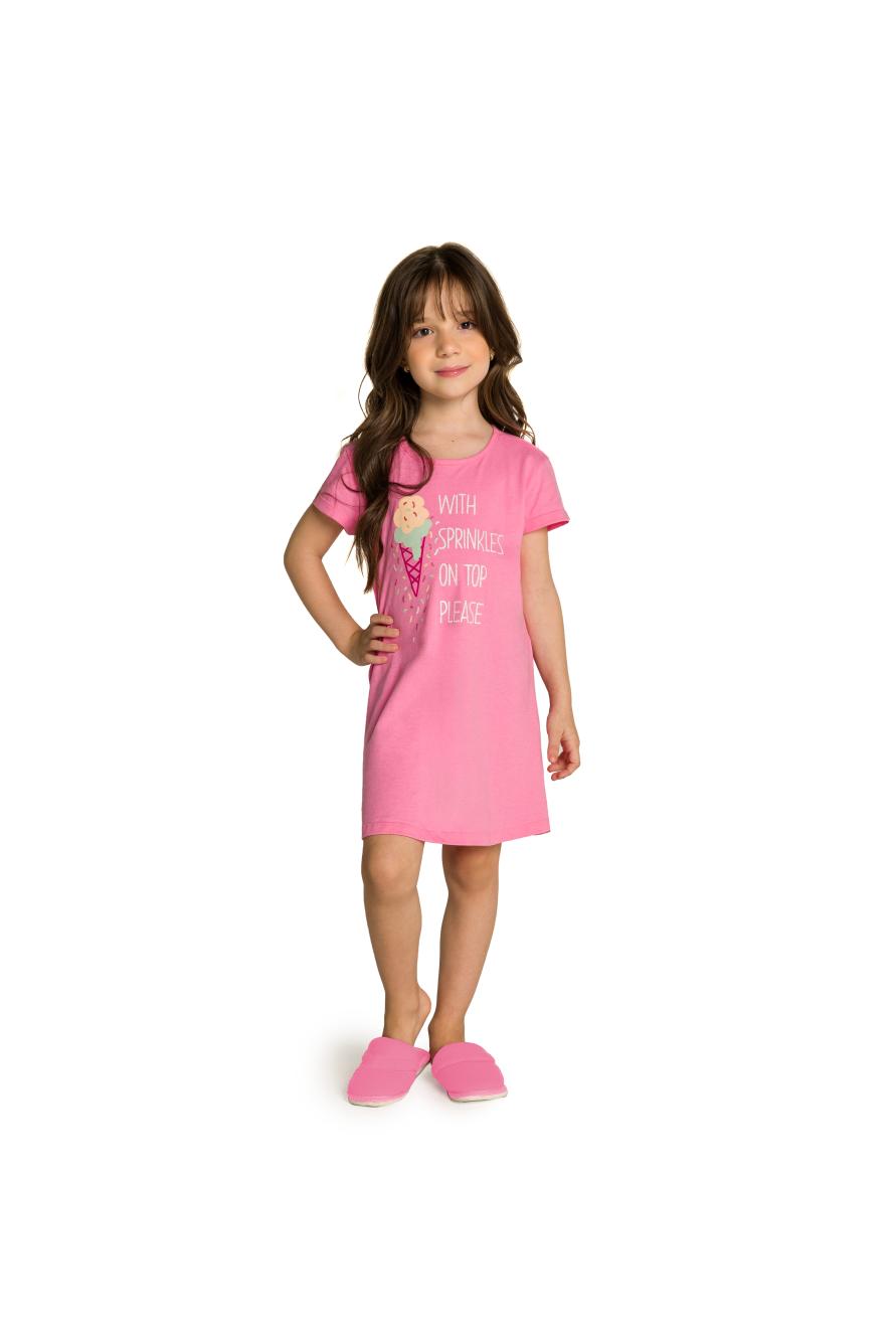 029/C - Camisola Infantil Feminino Sorvete com Granulado