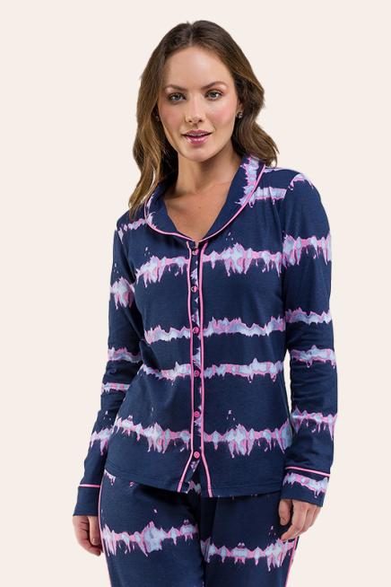 012/C - Pijama Adulto Com Botão Tie Dye