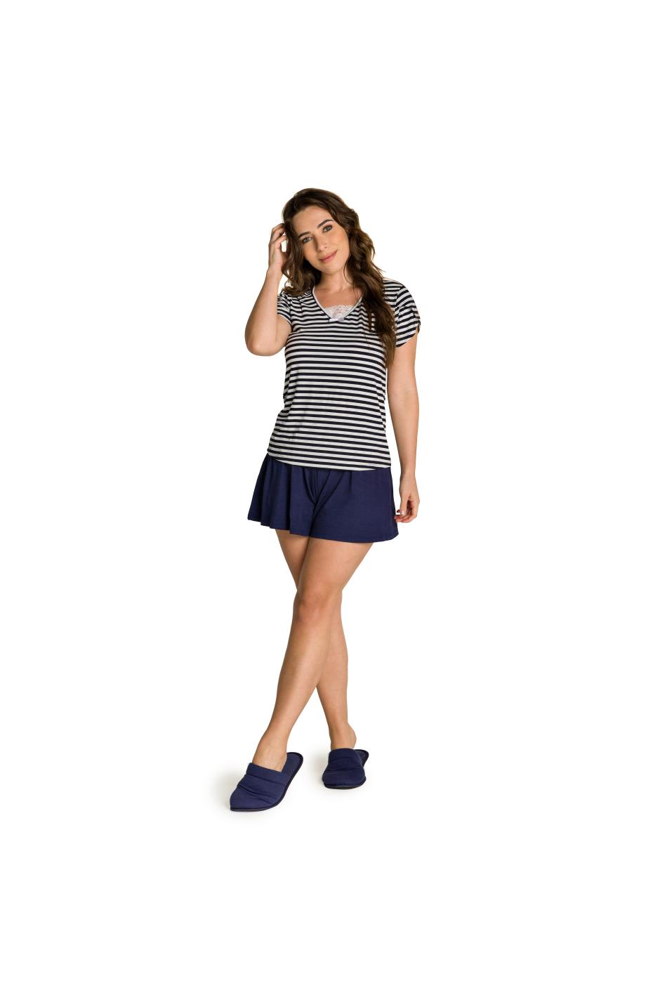 012/B - Short Doll Adulto Feminino Listrado com Laço e Renda