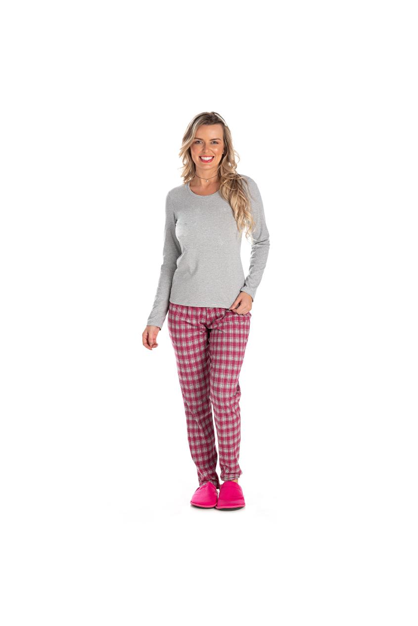 012/A - Pijama Adulto Feminino Xadrez sem Estampa