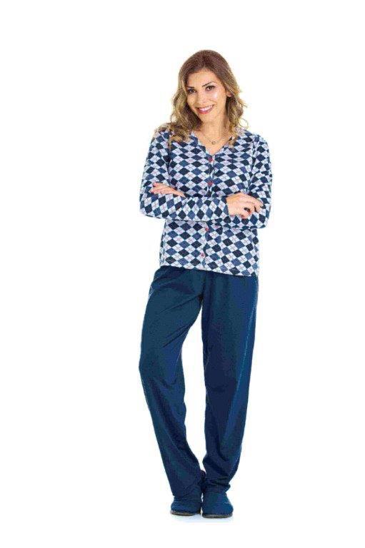 Pijama Adulto Feminino Aberto Argyle