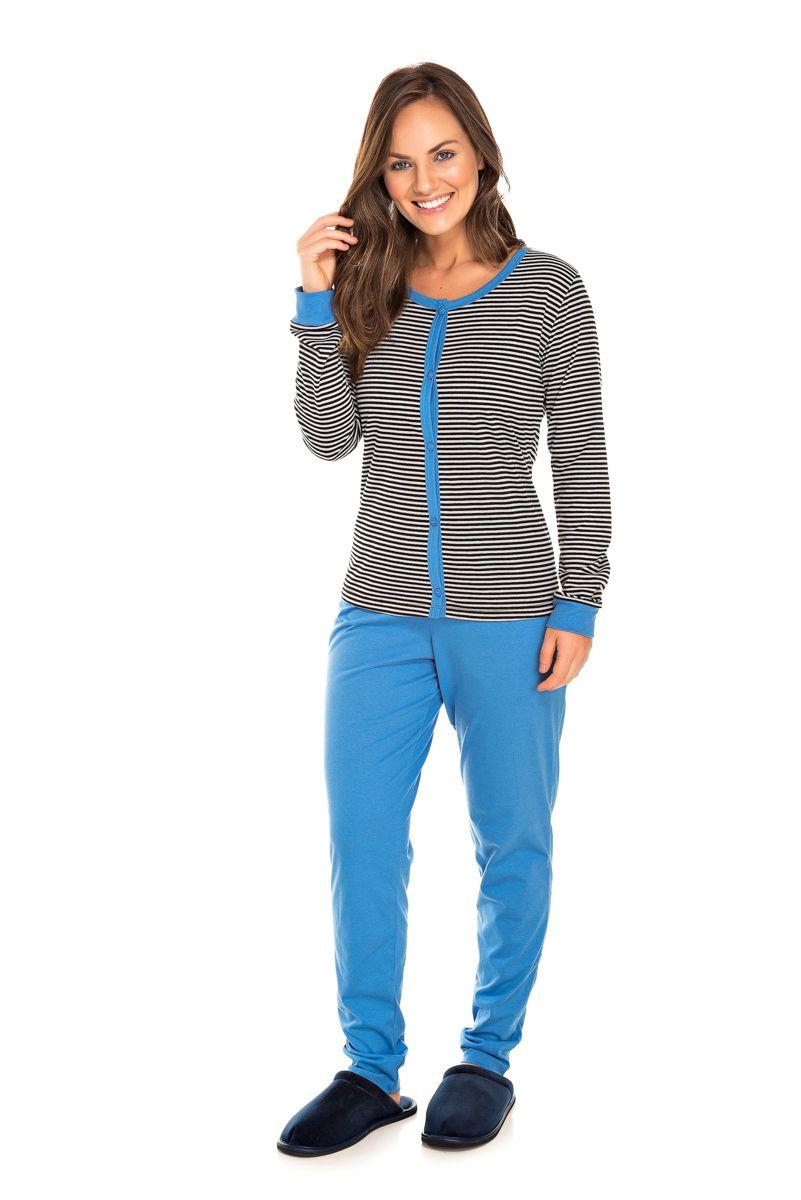Pijama  Adulto Feminino Aberto Listrado Azul