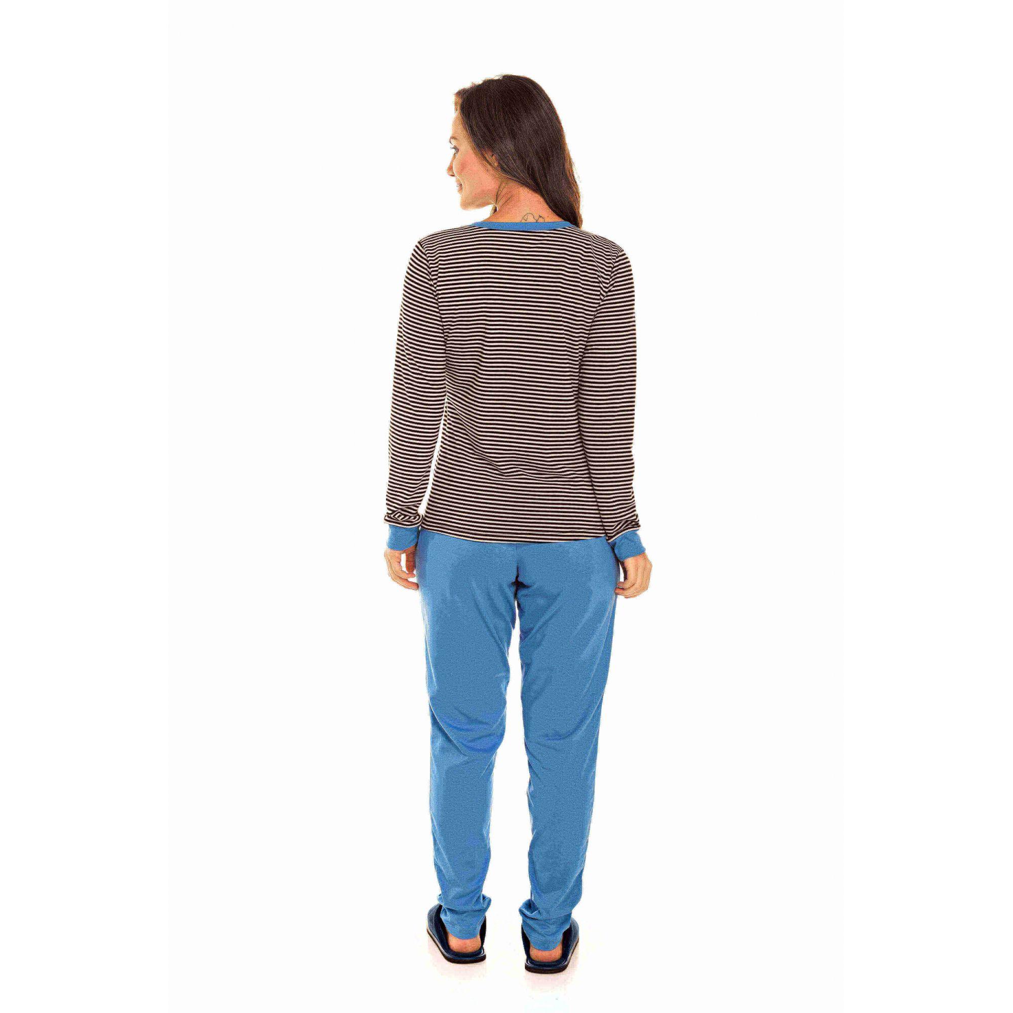 088/A - Pijama  Adulto Feminino Aberto Listrado Azul