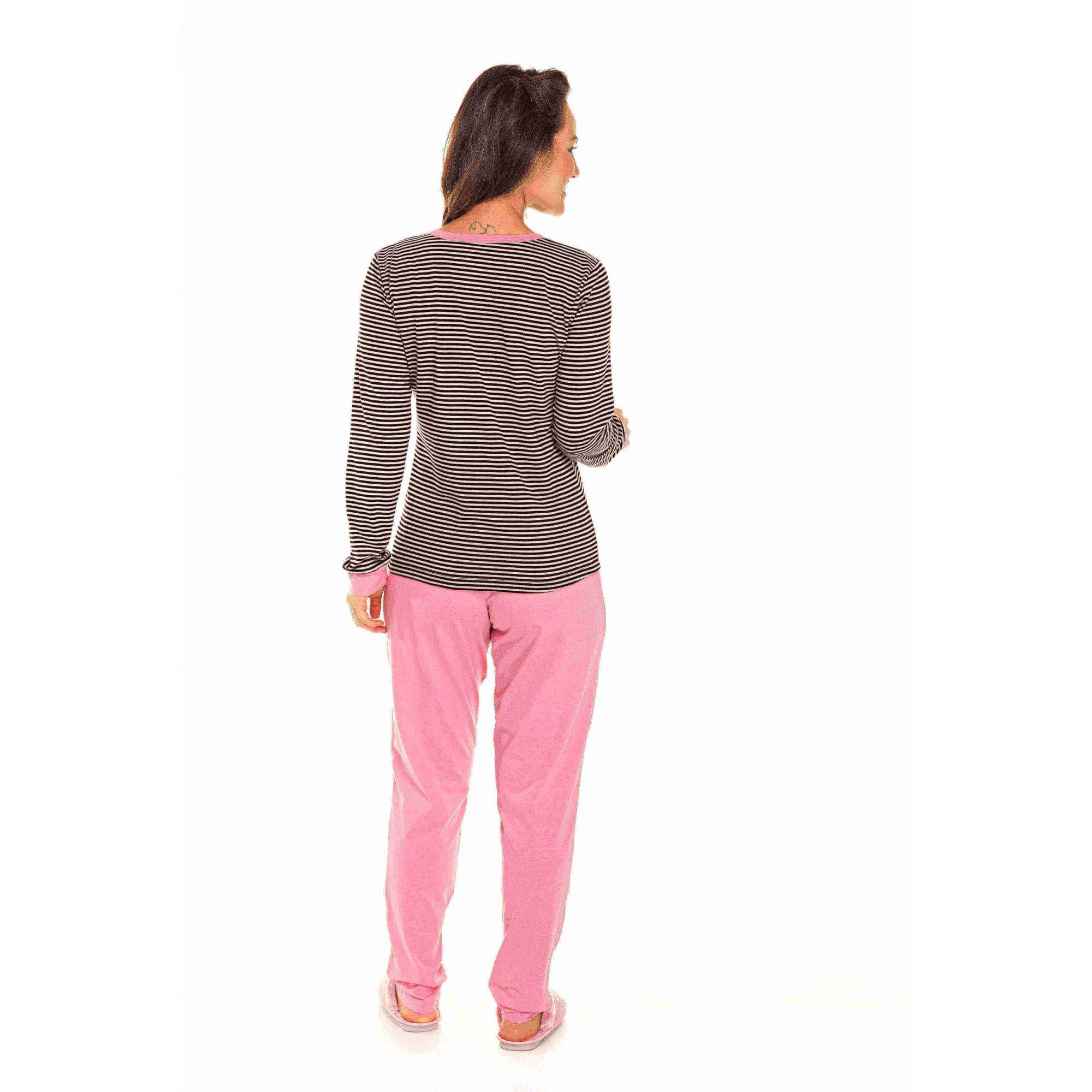 Pijama Adulto Feminino Aberto Listrado Rosa