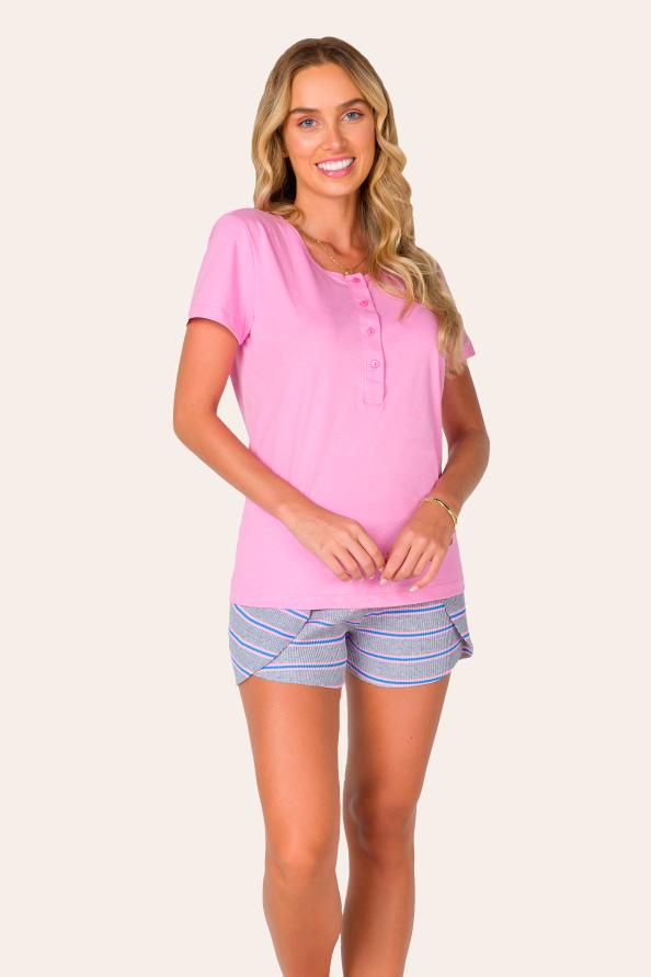 Pijama Adulto Feminino Aberto Rosa