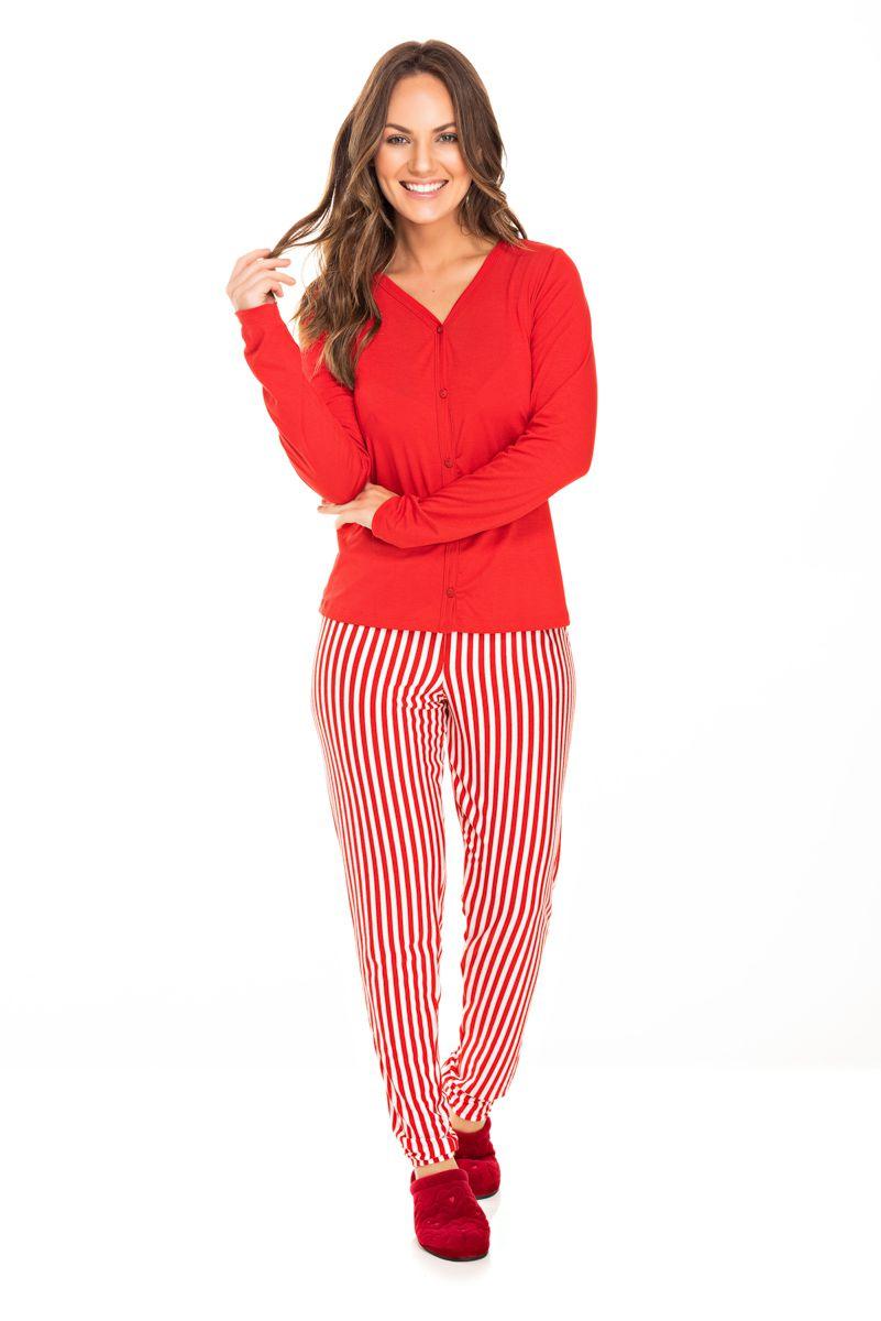 Pijama Adulto Feminino Aberto Vermelho