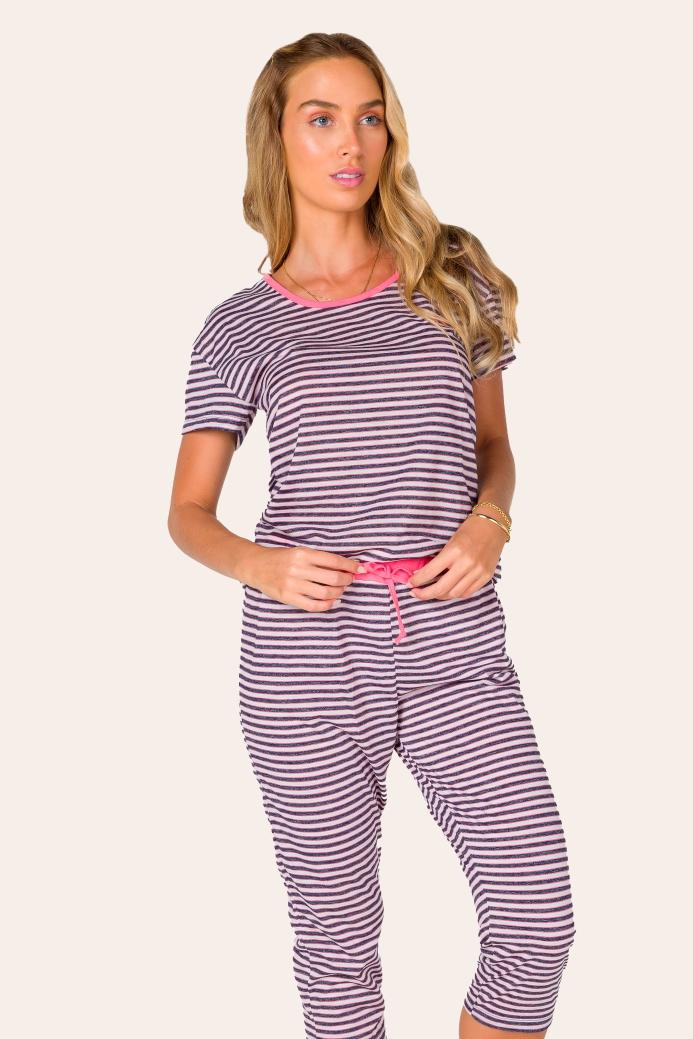027/B - Pijama Capri Adulto Feminino Listrado