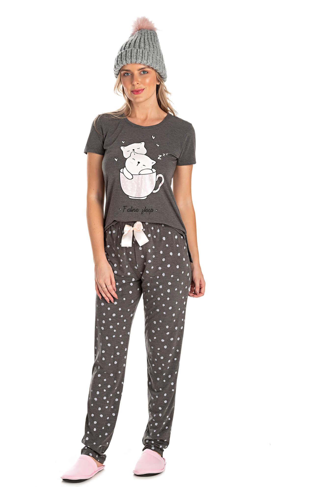 003/A - Pijama Adulto Feminino Feline Sleep zZzZ