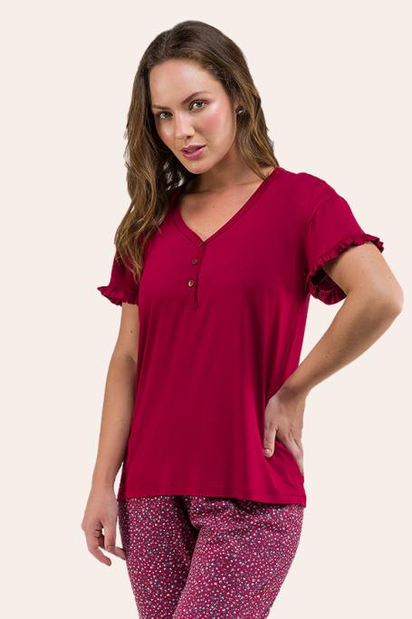 015/E - Pijama Adulto Feminino Florido Com Botão