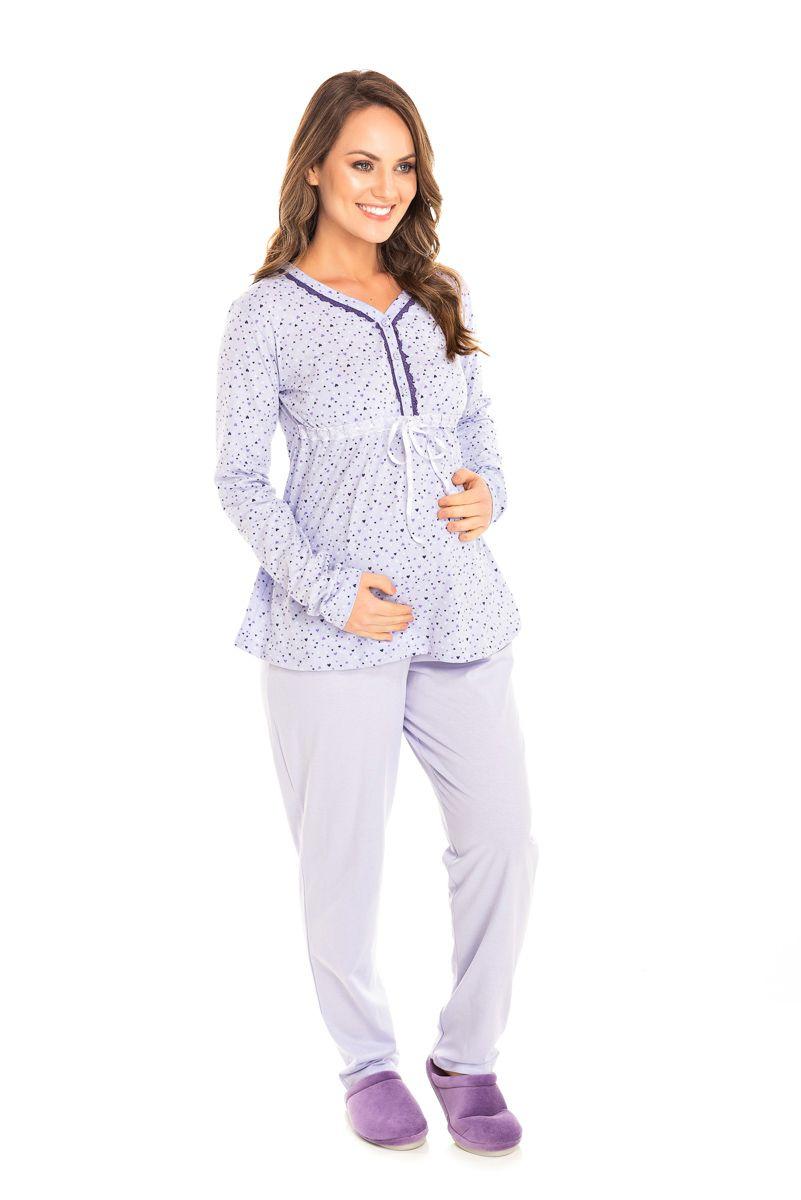 Pijama Adulto Feminino Gestante Lilás