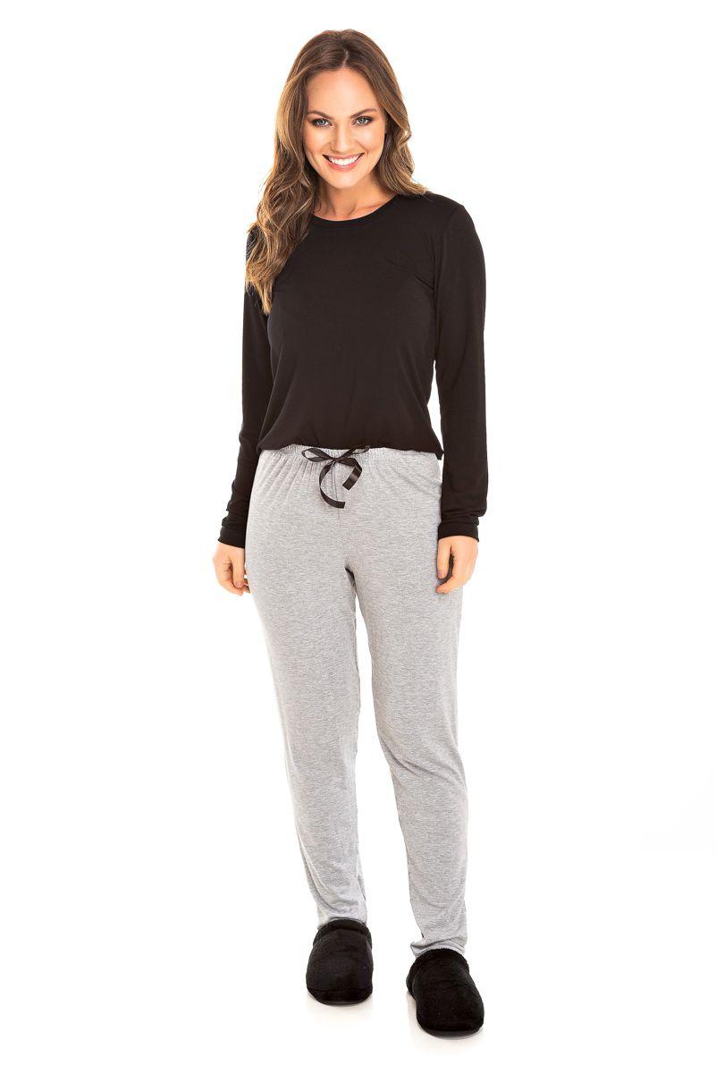 Pijama Adulto Feminino Glamour - Preto