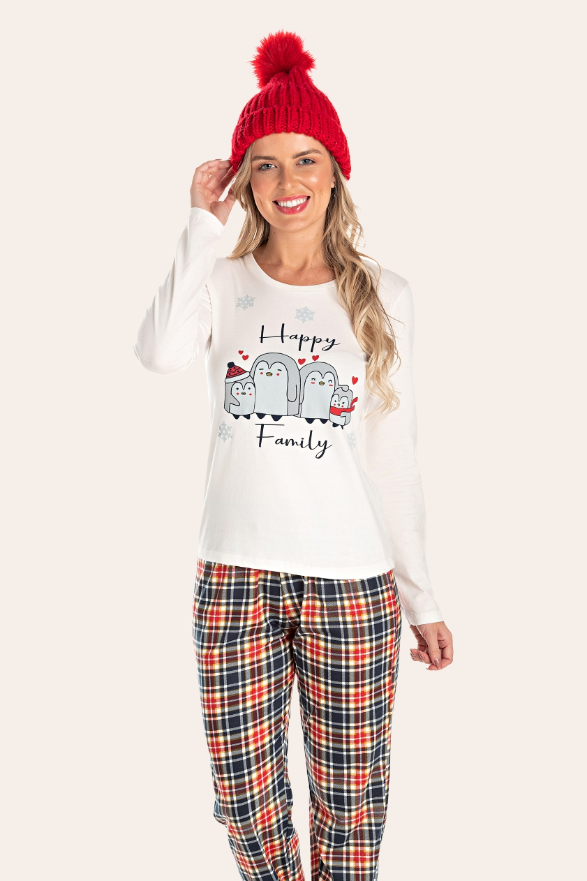 002/A - Pijama Adulto Feminino Happy Family