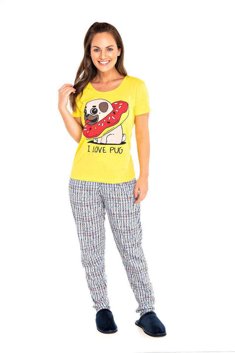 095/A - Pijama Adulto Feminino I LOVE PUG
