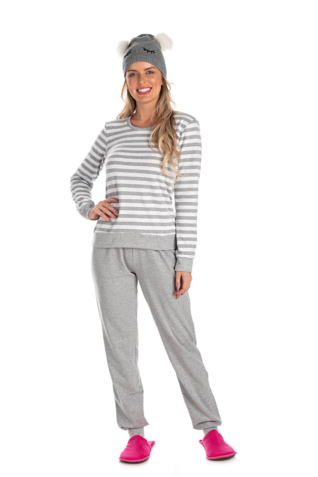 012/A - Pijama Adulto Feminino Listrado