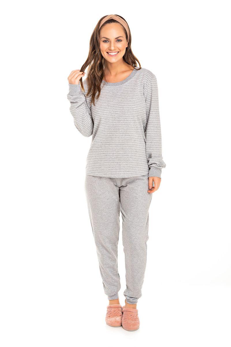 Pijama Adulto Feminino Moletinho Mescla