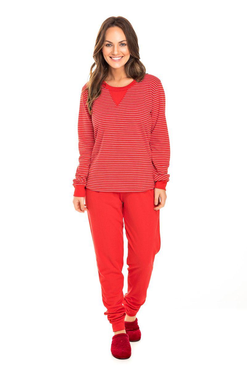 Pijama Adulto Feminino Moletinho Vermelho