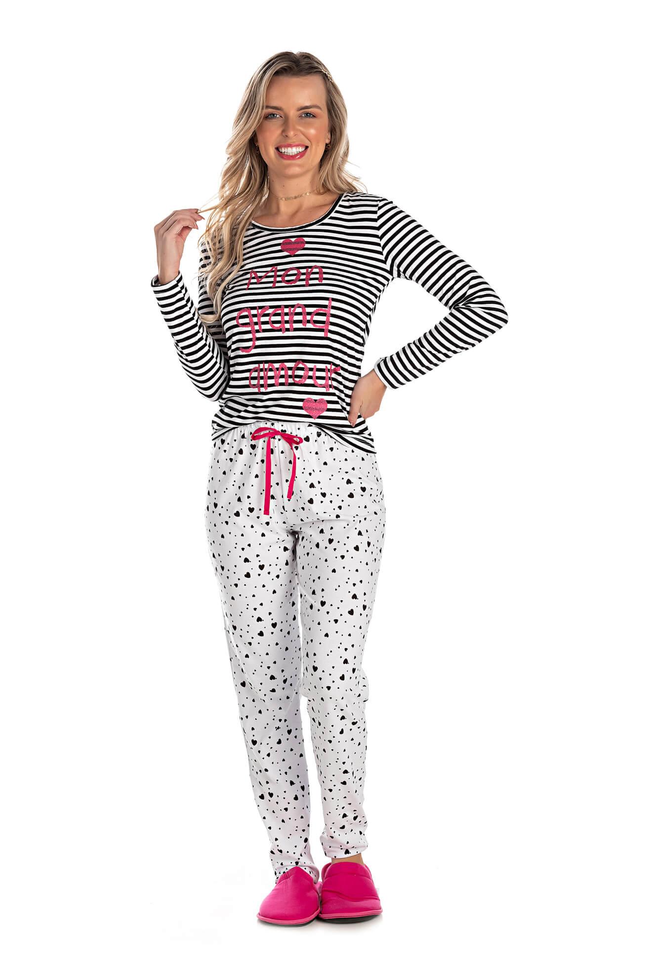 008/A - Pijama Adulto Feminino Mon Petit Coeur