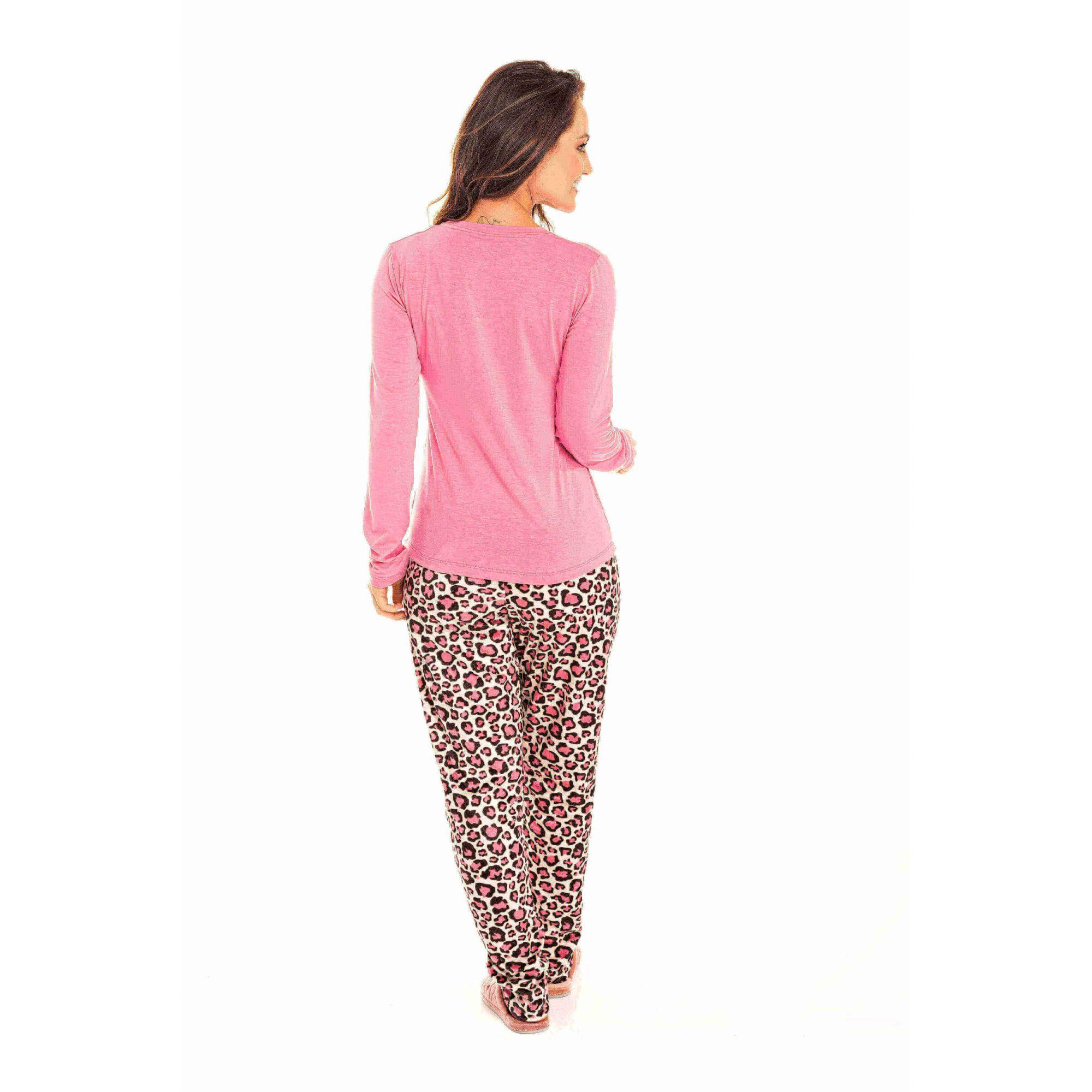 Pijama Adulto Feminino Oncinha Rosa