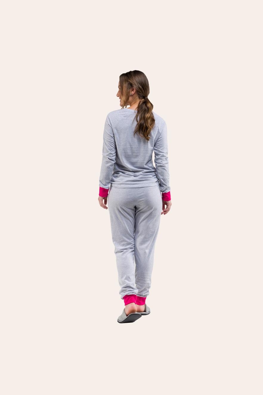 019/B - Pijama Adulto Feminino Panda Longo